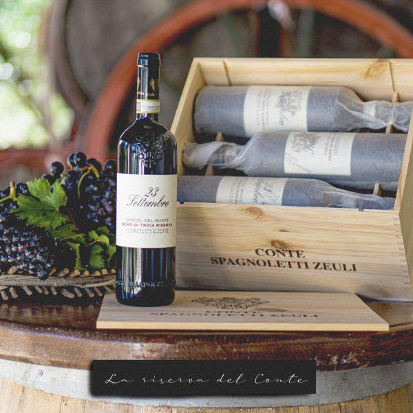 LA RISERVA DEL CONTE 23 Settembre 2015 Castel del Monte Nero di Troia Riserva DOCG 6 bottiglie da 750 ml Cassetta in legno