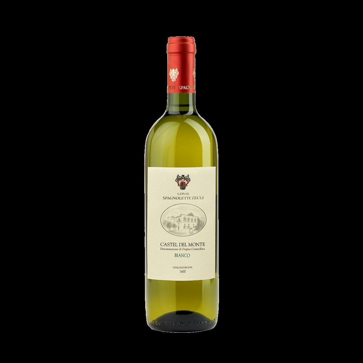 Castel del Monte DOC Bianco 2020 Bombino Bianco: 50 % Chardonnay: 50 % Temperatura di servizio: 7-8° C. Alcol svolto: 12% vol